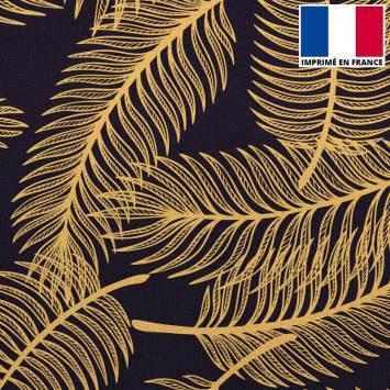 Velours ras imprimé palme dorée