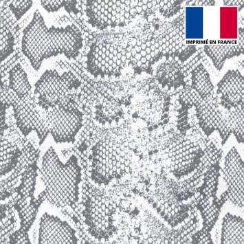 Mousseline crêpe imprimée peau de serpent gris