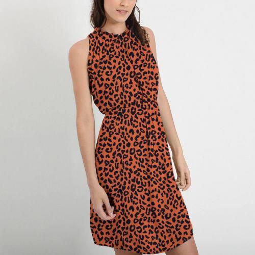 Mousseline crêpe orange imprimée léopard