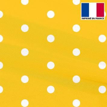 Mousseline crêpe jaune imprimée gros pois