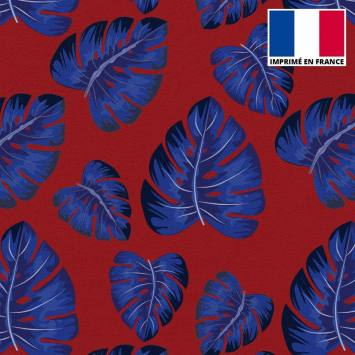 Tissu scuba imprimé feuille tropicale bleue
