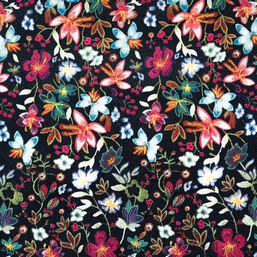 Simili cuir noir motif fleurs des champs multicolores