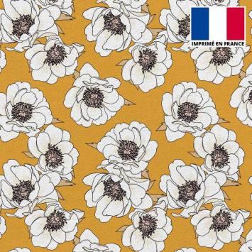 Tissu scuba ocre imprimé fleur blanche