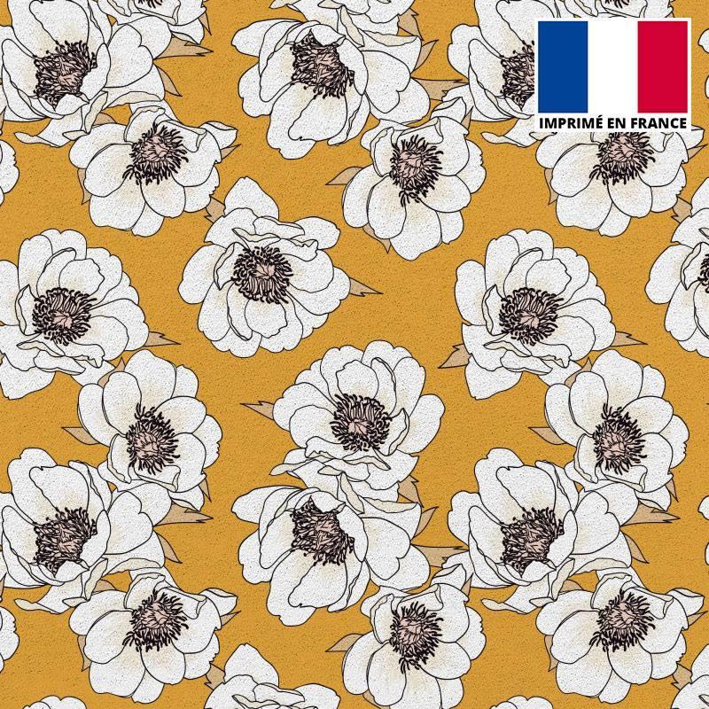 Tissu scuba imprimé fleur blanche