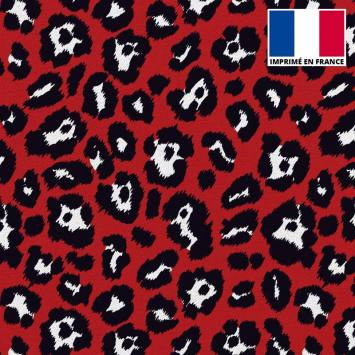 Tissu scuba imprimé léopard rouge