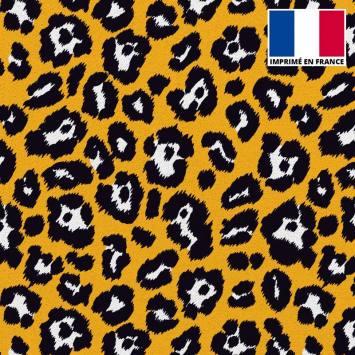 Tissu scuba imprimé léopard ocre