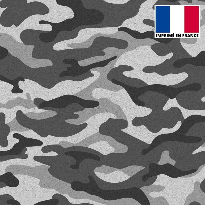 Tissu scuba imprimé militaire gris