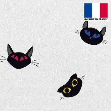Tissu scuba blanc imprimé chat dessin