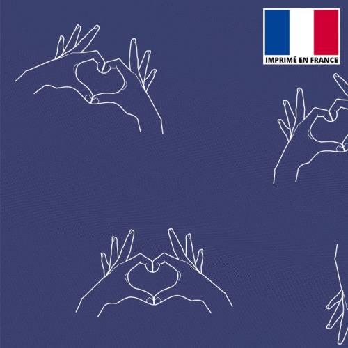 Mousseline bleue imprimée mains coeur