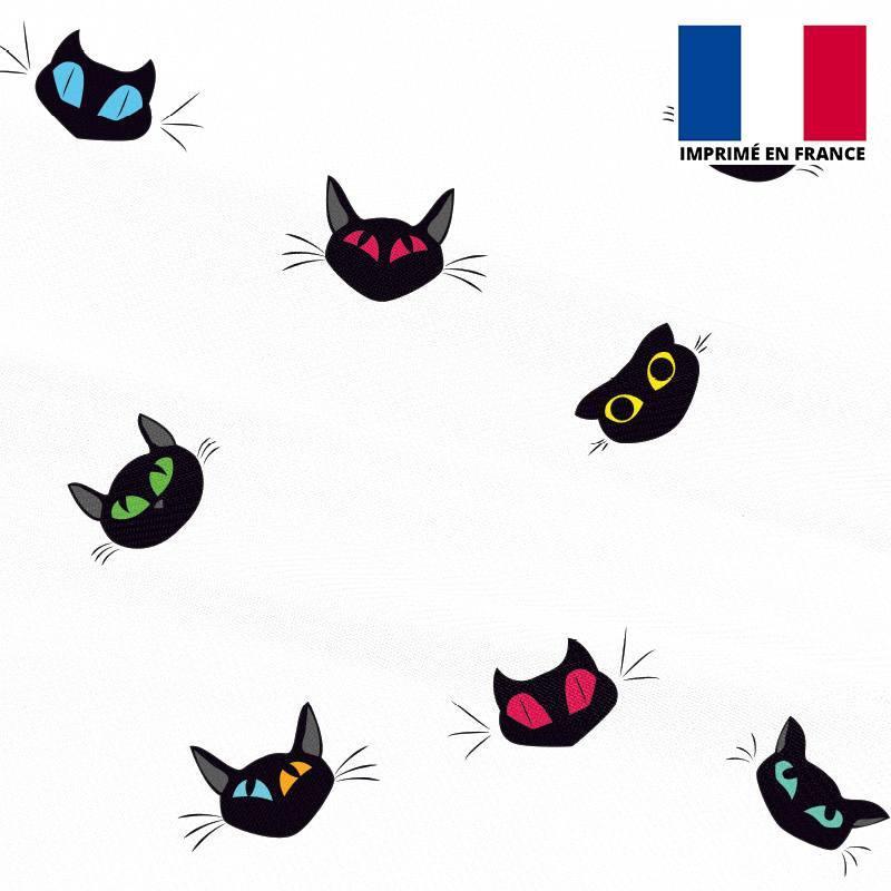 Mousseline blanche imprimée chat dessin