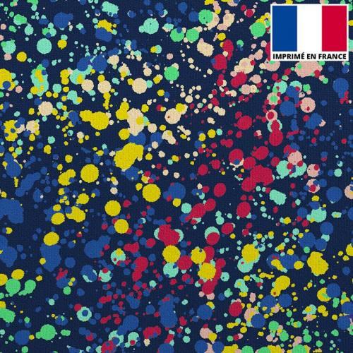 Velours ras bleu marine imprimé peinture abstraite