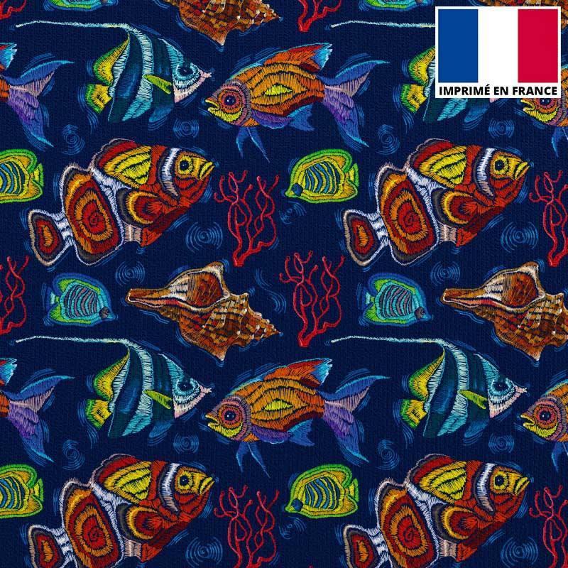 Velours ras bleu marine imprimé poisson brodé