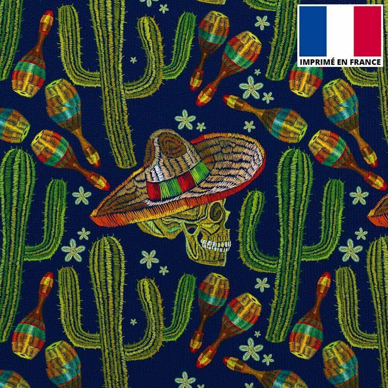Velours ras bleu marine imprimé mexicain brodé