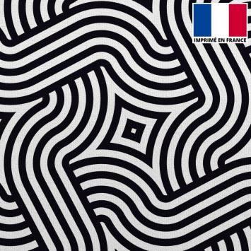 Velours ras écru imprimé labyrinthe géométrique
