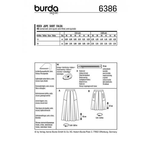 Patron Burda 6386 : Jupe Taille : 36-46