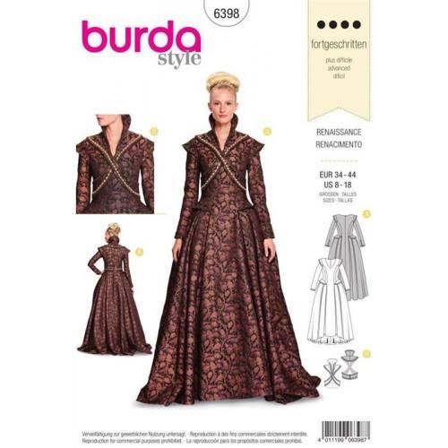 Patron Burda 6398: Renaissance Taille : 34-44
