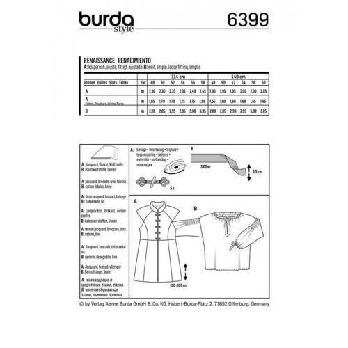 Patron Burda 6399: Renaissance Taille : 48-58