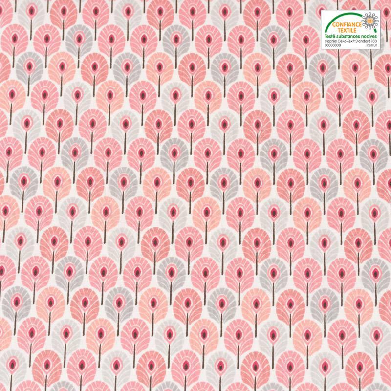 Coton rose pastel imprimé plume de paon