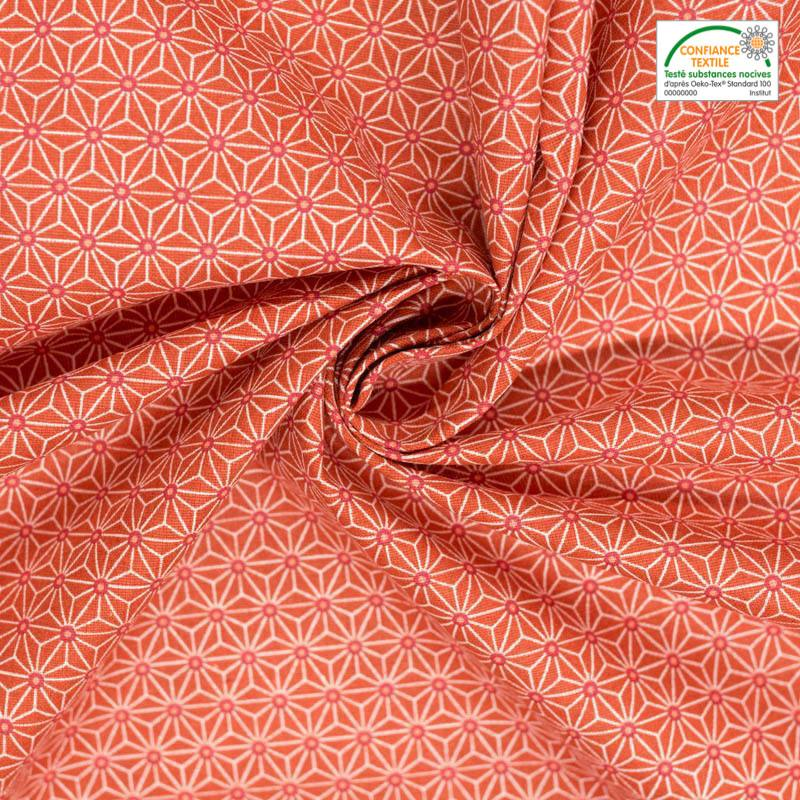 Coton rouge vermillon petit motif asanoha