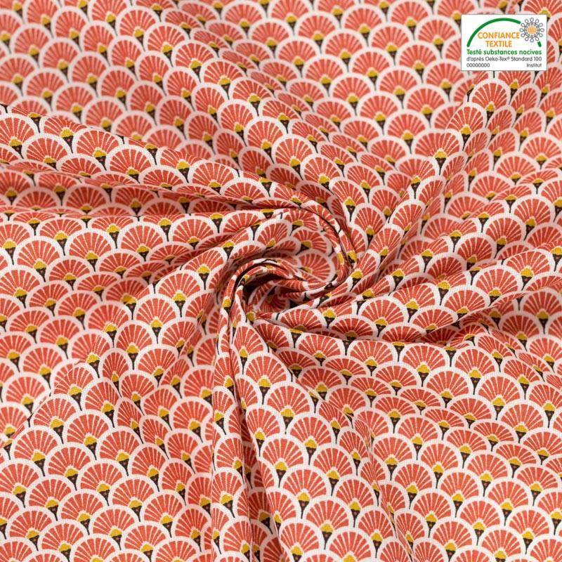 Coton imprimé éventail rouge terracotta et ocre