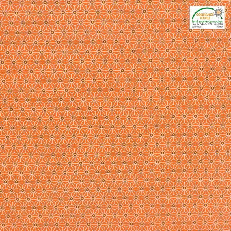 Coton orange petit motif asanoha