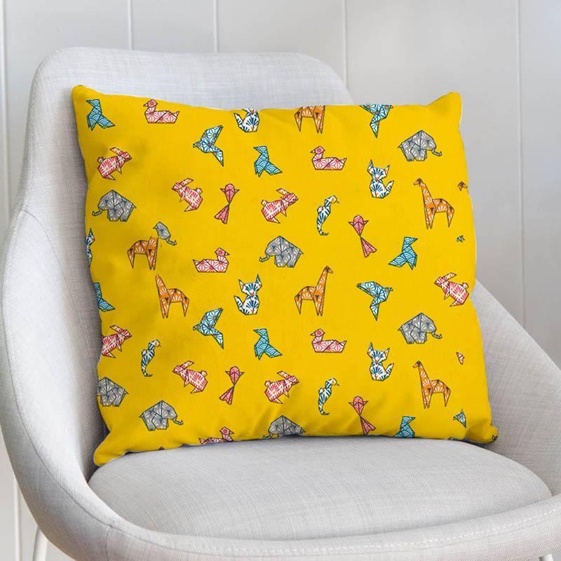 Coton jaune motif origami animaux
