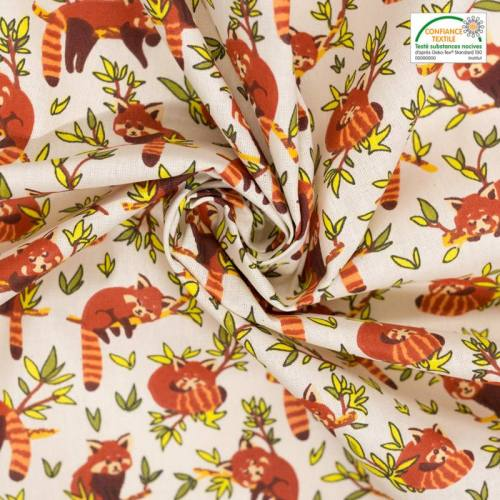 Coton écru motif panda roux