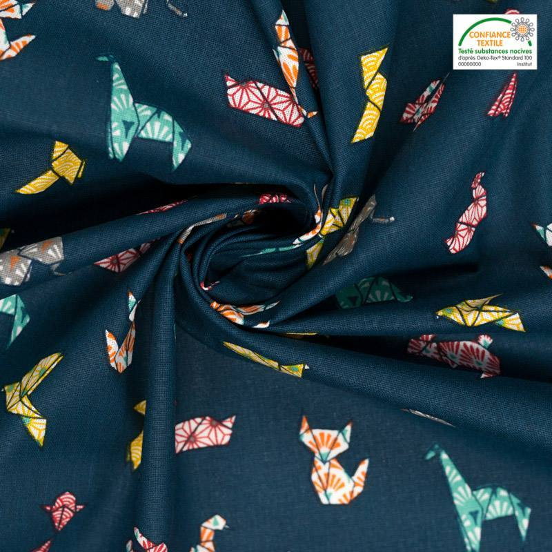 Coton bleu pétrole motif origami animaux
