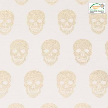 Jacquard gris tête de mort fil doré