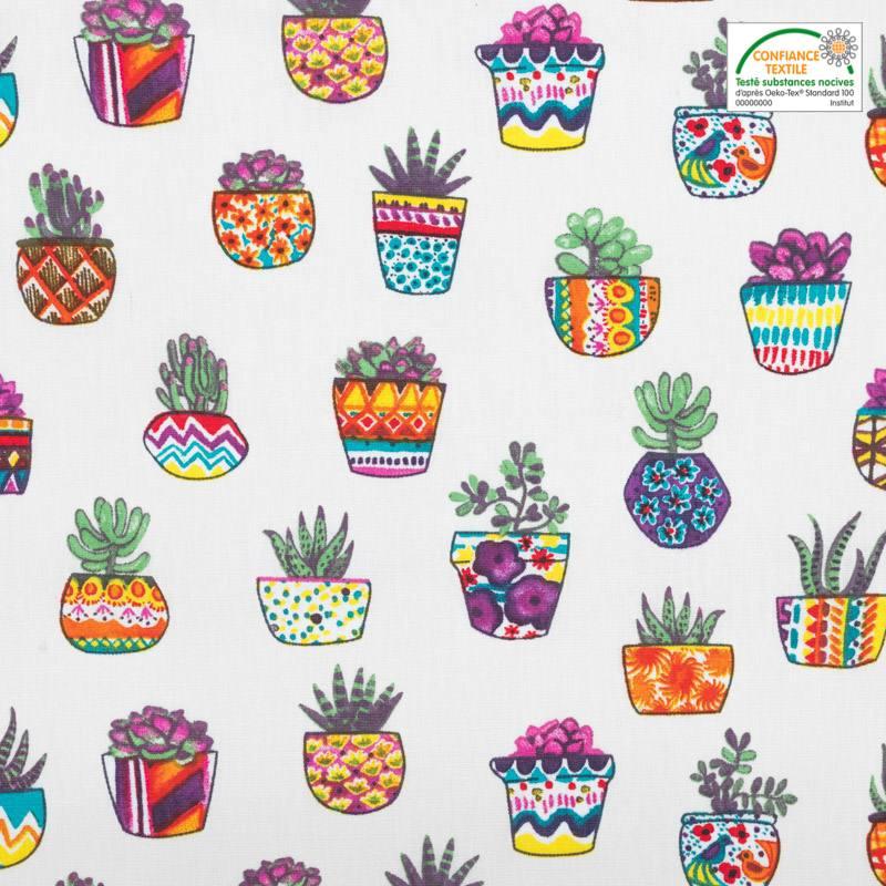 Coton écru motif pot de plantes grasses