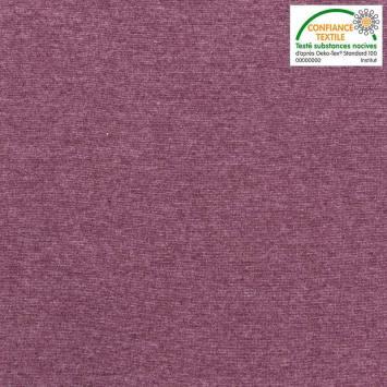 Tissu tubulaire bord-côte chiné prune