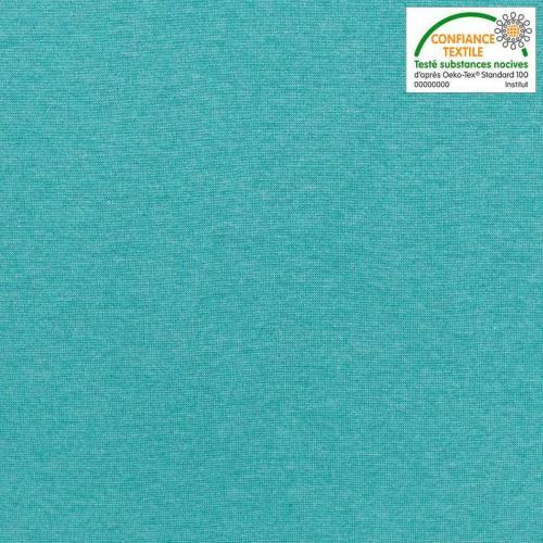 Tissu tubulaire bord-côte chiné bleu lagon