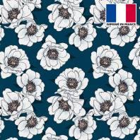 Tissu scuba bleu marine imprimé fleur blanche