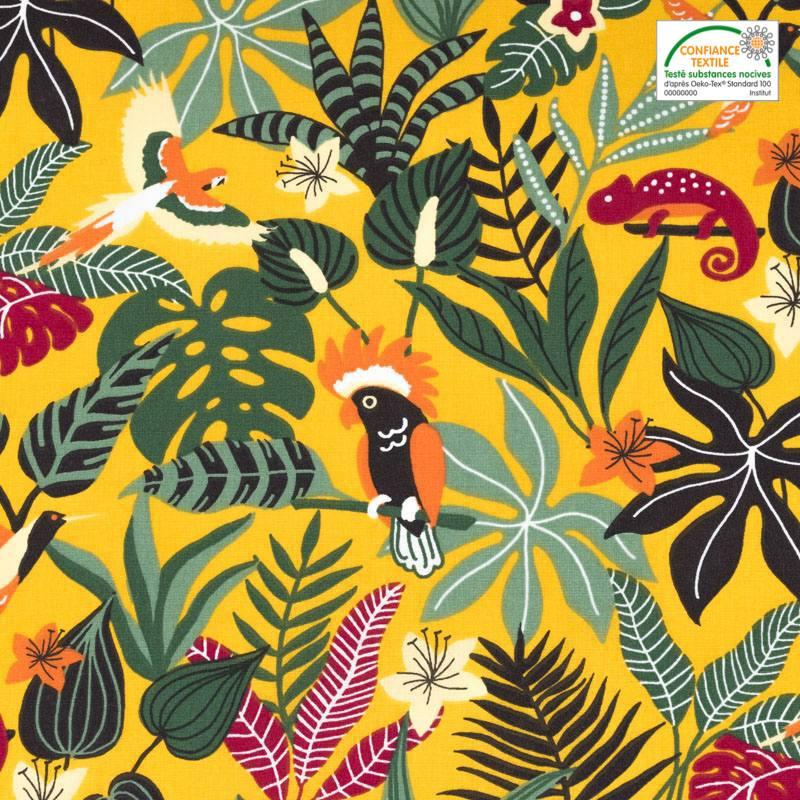 Coton jaune safran motif feuilles des Caraïbes