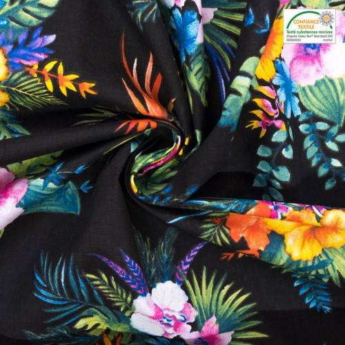 Coton noir motif fleur tropicale et oiseau du paradis