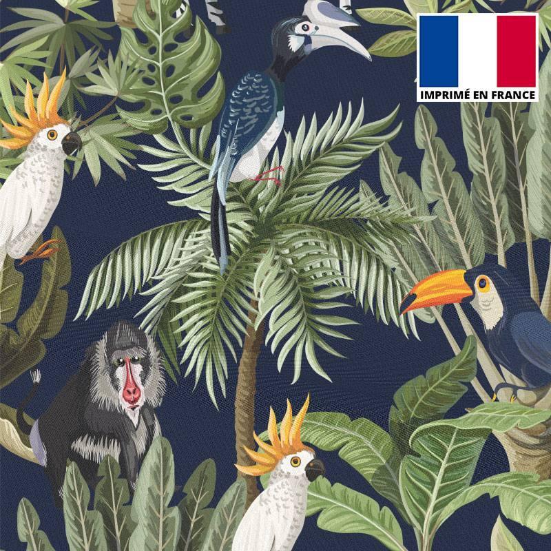Mousseline crêpe imprimée jungle et animaux bleu marine