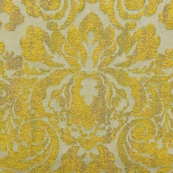 Jacquard tissage arabesques jaune olive et grège