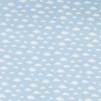 Coton bleu ciel imprimé nuage