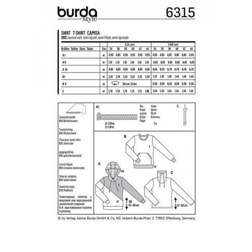 Patron Burda 6315 : T-shirt Taille : 34-44