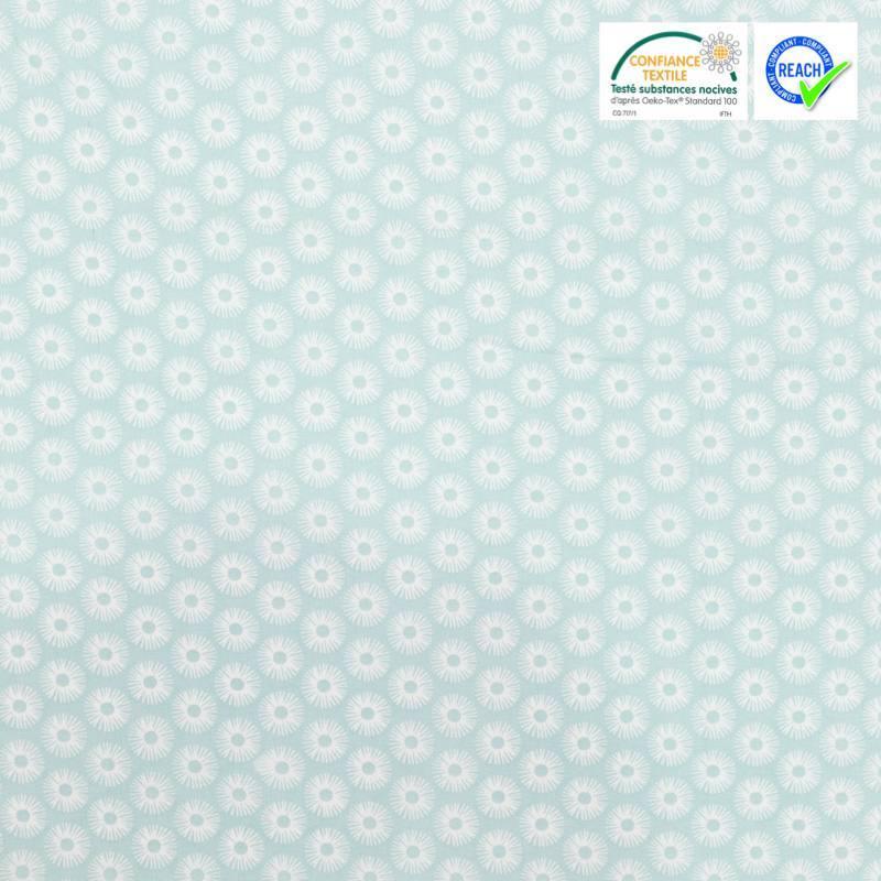 Coton vert d'eau motif rosace blanche zazen