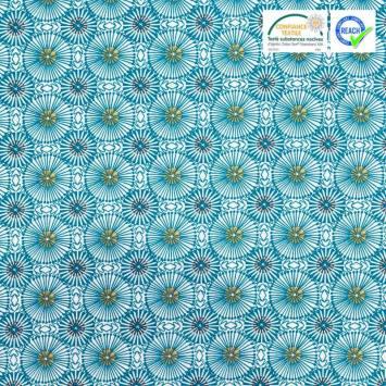 Coton blanc motif fleur bleu canard womby