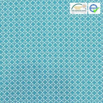 Coton bleu canard motif fleur blanche donna