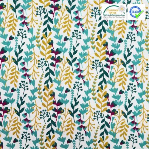 Coton blanc motif feuilles vertes et jaune foncé