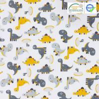 Coton blanc motif dinosaure minmi