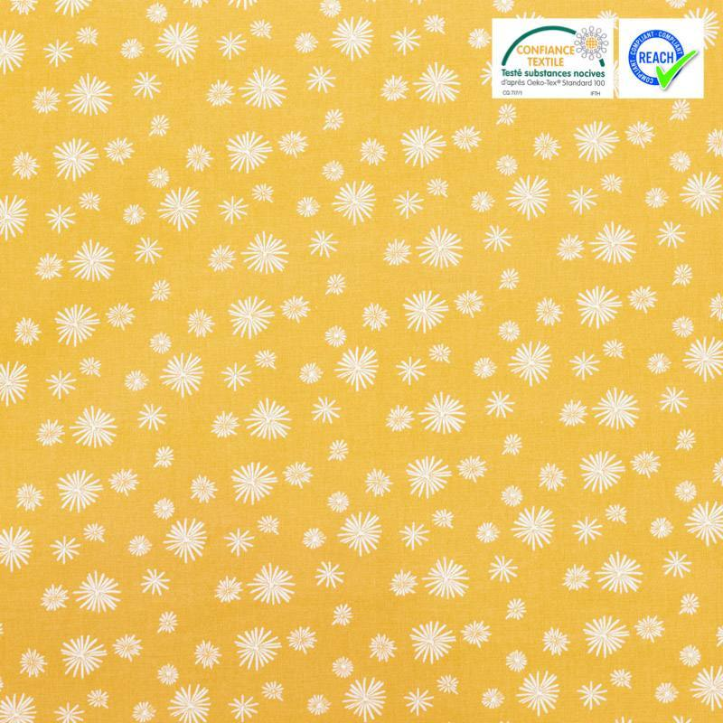 Coton jaune moutarde motif pissenlit blanc