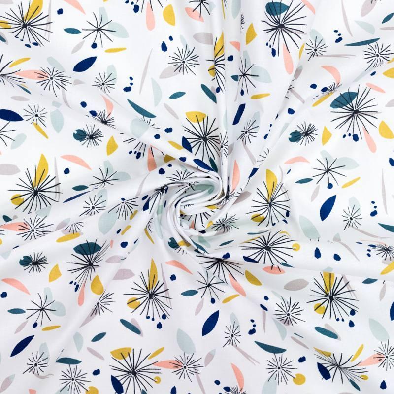 Coton blanc motif formes géométriques multicolores et pissenlit