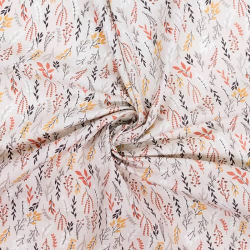 Coton grège motif branches et feuilles corail