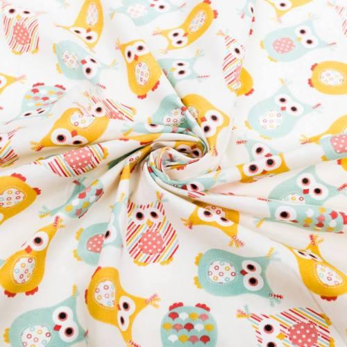 Coton écru motif chouette