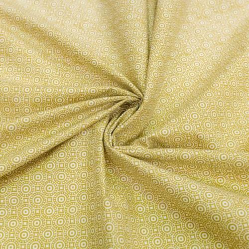 Coton blanc motif cercle mosaïque jaune moutarde niam