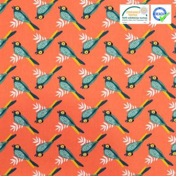 Coton rouge brique motif oiseau tropical